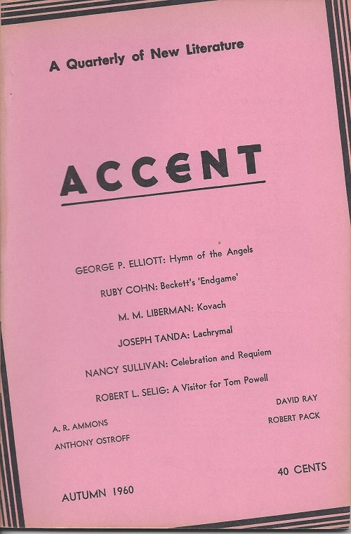 ACCENT: A QUARTERLY OF NEW LITERATURE. A. R. Ammons.