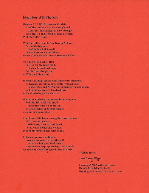 ELEGY FOR WILT THE STILT. (Broadside.). William Heyen.