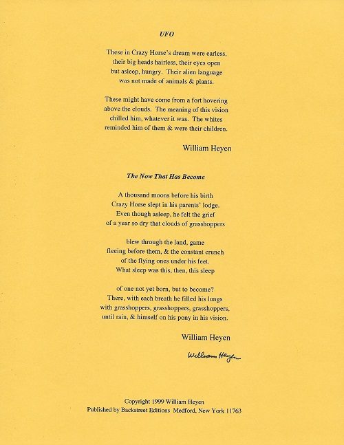 UFO and THE NOW THAT HAS BECOME. (Broadside.). William Heyen.