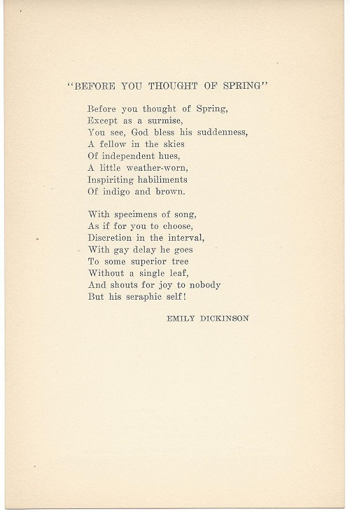 Center Line Mi >> BEFORE YOU THOUGHT OF SPRING. Broadside. | Emily Dickinson