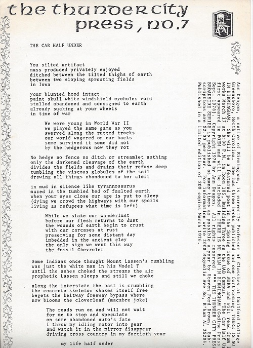 THE CAR HALF UNDER. (Broadside.). Ann Deagon.