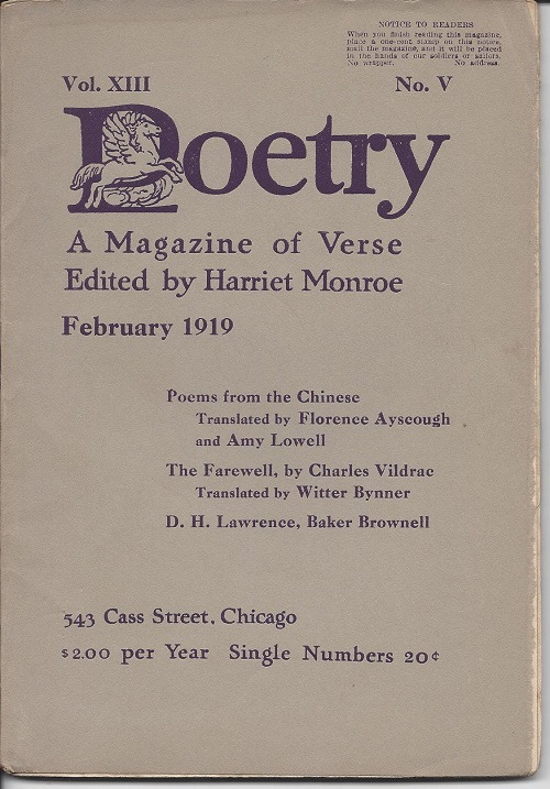 POETRY: A MAGAZINE OF VERSE. D. H. Lawrence, ed. Harriet Monroe.