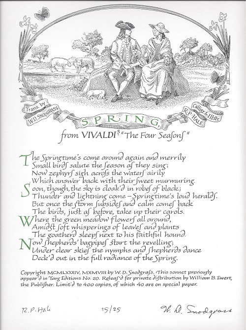 SPRING: FROM VIVALDI'S THE FOUR SEASONS. (Broadside.). W. D. Snodgrass.