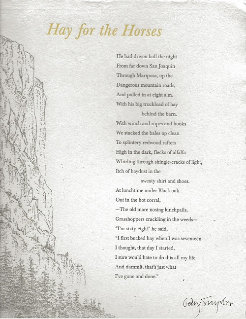 HAY FOR THE HORSES. (Broadside). Gary Snyder.