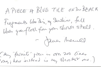 A PIECE OF BLUE TILE ON THE BEACH. James Merrill.