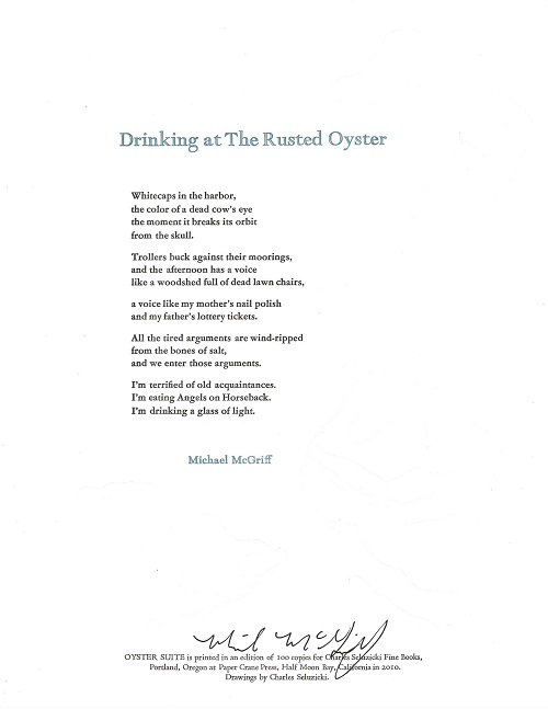 DRINKING AT THE RUSTED OYSTER. (Broadside.). Michael McGriff.