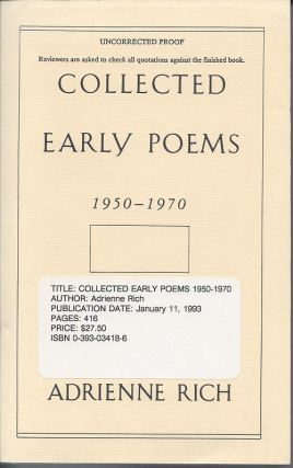 COLLECTED EARLY POEMS: 1950-1970. Adrienne Rich.