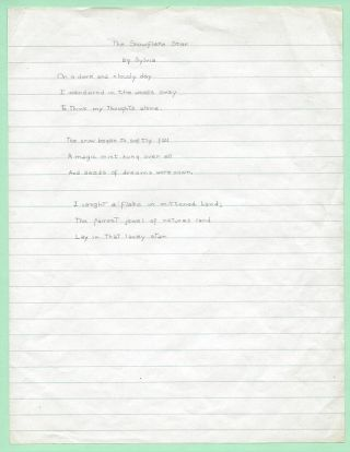 THE SNOWFLAKE STAR. (A.M.S., manuscript.). Sylvia Plath
