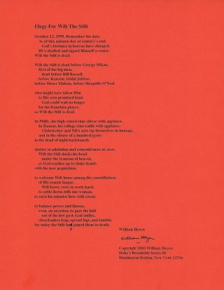 ELEGY FOR WILT THE STILT. (Broadside.). William Heyen