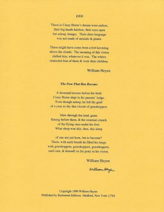 UFO and THE NOW THAT HAS BECOME. (Broadside.). William Heyen