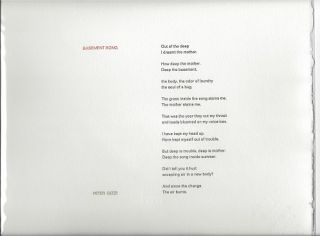 BASEMENT SONG. (Broadside.). Peter Gizzi