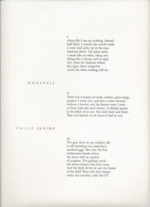 GODSPELL. (Broadside.). Philip Levine