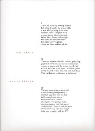 GODSPELL. (Broadside.). Philip Levine.