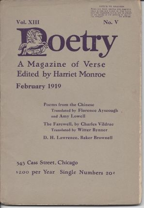 POETRY: A MAGAZINE OF VERSE. D. H. Lawrence, ed. Harriet Monroe