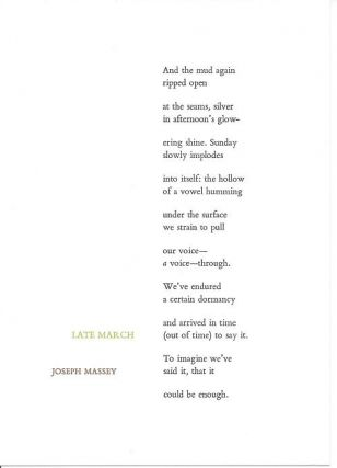 LATE MARCH. (Broadside.). Joseph Massey