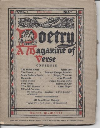 POETRY A MAGAZINE OF VERSE. Ezra Pound