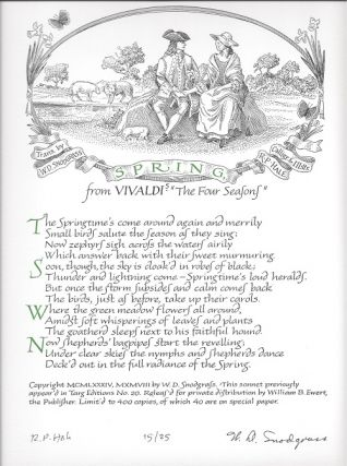 SPRING: FROM VIVALDI'S THE FOUR SEASONS. (Broadside.). W. D. Snodgrass