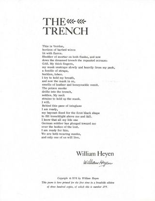 THE TRENCH. (Broadside.). William Heyen