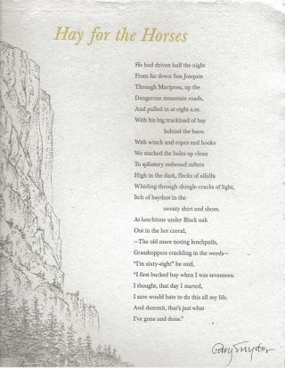 HAY FOR THE HORSES. (Broadside). Gary Snyder